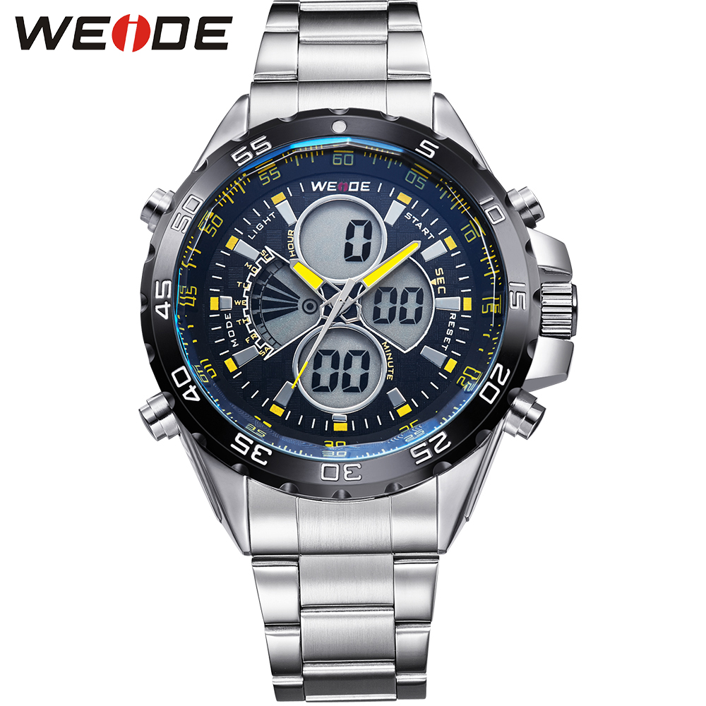 WEIDE Brand New Original Men Sports Watch LCD Digital Analog Date Stopwatch Backlight Full Steel Quartz Military Watches Fashion weide men sports watch quartz digital lcd display stopwatch silicone strap buckle date black dial military wristwatches for man