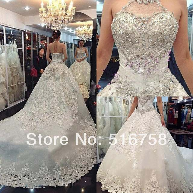 1d6874f65d Halter Neck Crystal Beaded Ball Gown Long Train Bow Back Luxury Expensive  Beauty Bridal Gowns 2014 Wedding Dresses