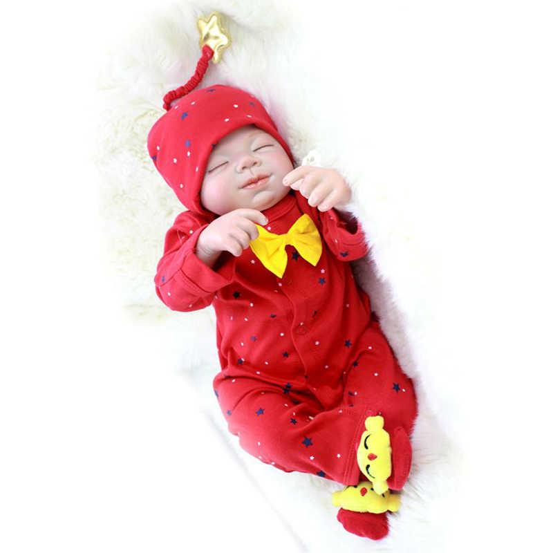 Nicery 20-22 بوصة 50-55 cm بيبي تولد من جديد دمية لينة سيليكون صبي فتاة لعبة تولد من جديد دمية طفل هدية ل الطفل قبعة حمراء الأحمر بذلة