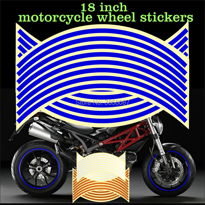 FASP 17/18 Inch Motorcycle Reflective Wheel Hub Stickers Auto Decors Wheel Stickers On Car 16 Strips Waterproof Decal Tape