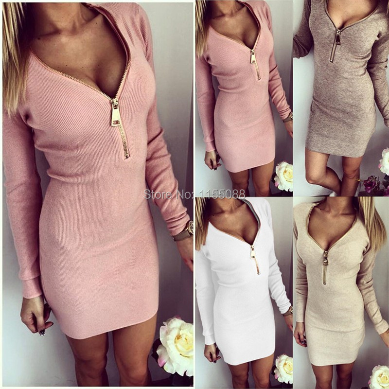 100pcs/lot  Elegant Women Dress Long Sleeve Dress Sexy Stretch Bodycon Dresses Fashion Sring Autumn Style Casual Clothing