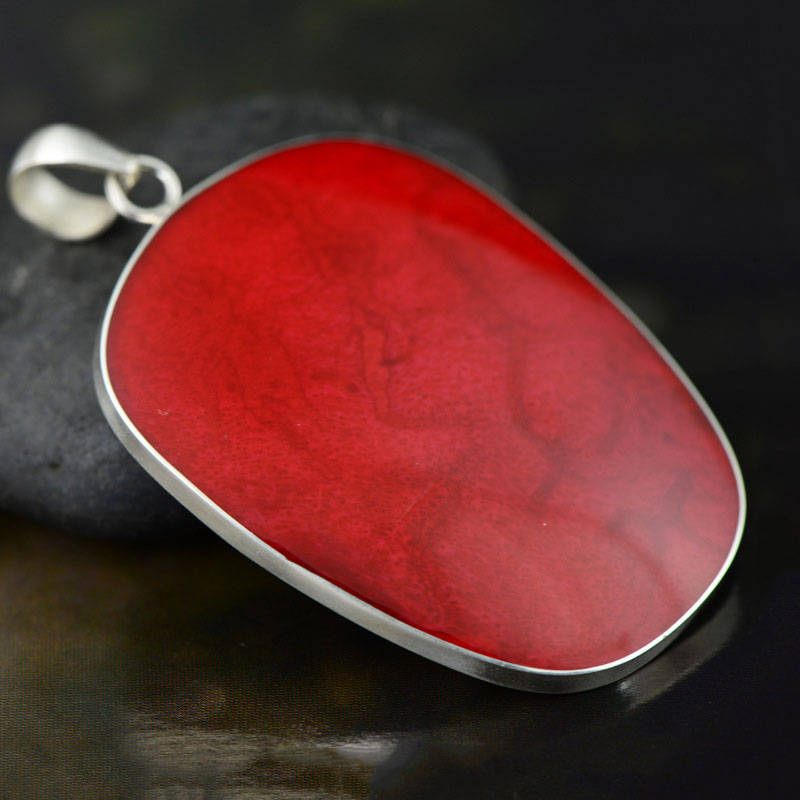 GZ Real 925 Silver Jewelry Store GZ 925 Silver Oval Pendant Artificial Red Coral 100% Real S925 Solid Original Silver Pendants for Women Jewelry Making