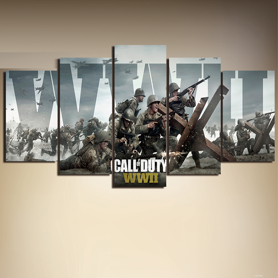 no frame 5 Panel Call of Duty Game Print Poster Canvas Art Picture Printing Canvas For Living Room Wall Art Picture Home Decor