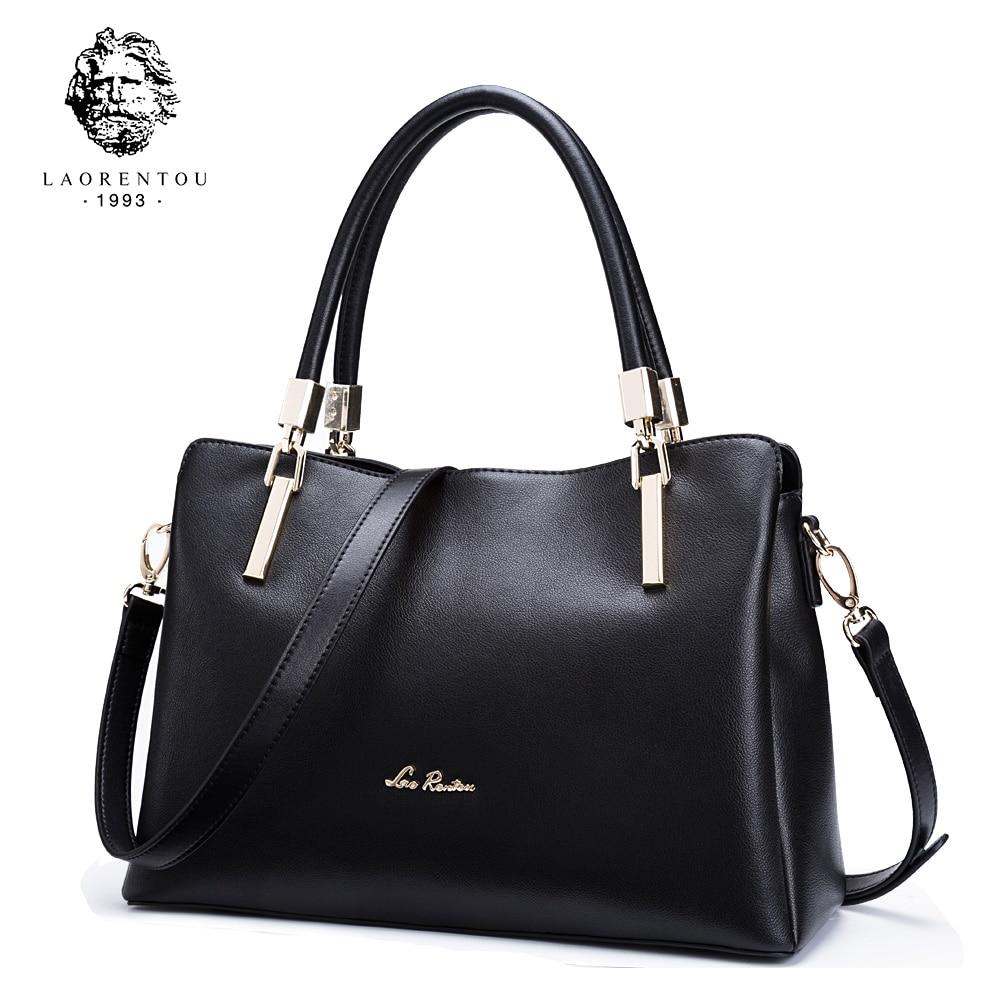 LAORENTOU Ladies Leather Luxury Handbags Women Bags Designer Ladies Shoulder Bag Cowhide Leather Crossbody Bag Casual