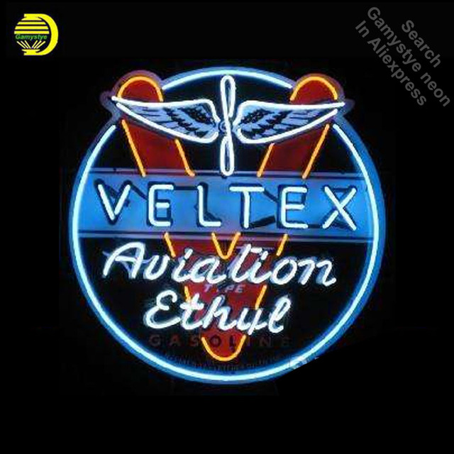 NEON SIGN For Velte Aviation Gasoline NEON Bulbs Lamp GLASS Tube Decor Club Garage Room Handcraft Advertise anuncio PRINT BOARD
