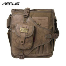 AERLIS Handbag Men Messenger Shoulder Bags Canvas Leather MultiFunction Male Satchel Crossbody Sling Business School Bag 4505