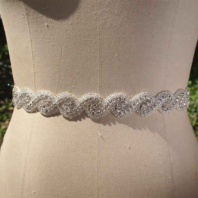 Real Photo Simple Elegant Crystal Rhinestone Wedding Belt Bridal Accessory Special Occasion Dress Sash
