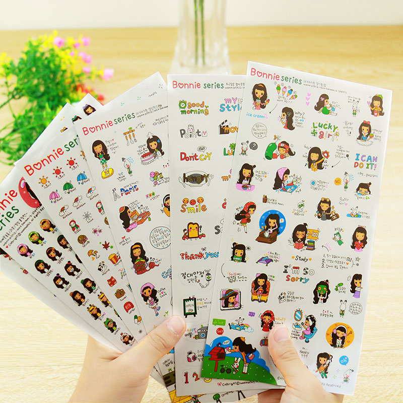 6 pcs/set photo album Scrapbook decoration Black hair girl stickers DIY Handmade Sticker Gifts Card Scrapbooking Free shipping