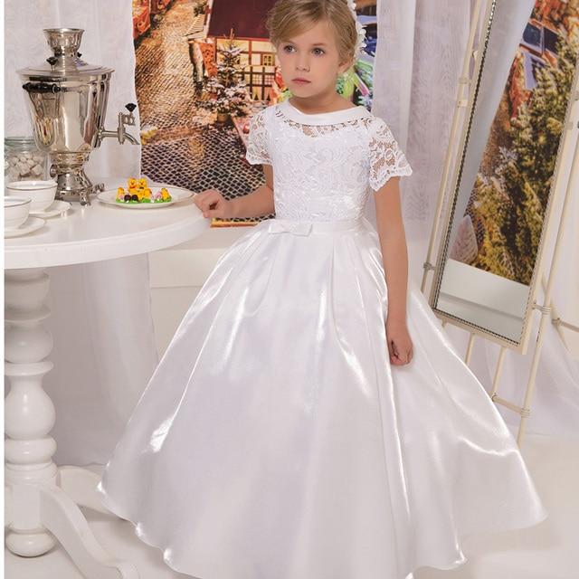 22231b64ad6a1 US $88.0 |Vintage Scoop Short Sleeve First Communion Dresses For Girls  vestidos de comunion White Long Flower Girl Dresses For Weddings-in Flower  Girl ...