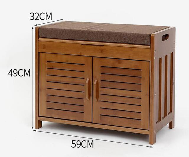 Bamboo Furniture 2 Doors Shoe Cabinet With Drawer Removable Seat Cushion Storage Unit