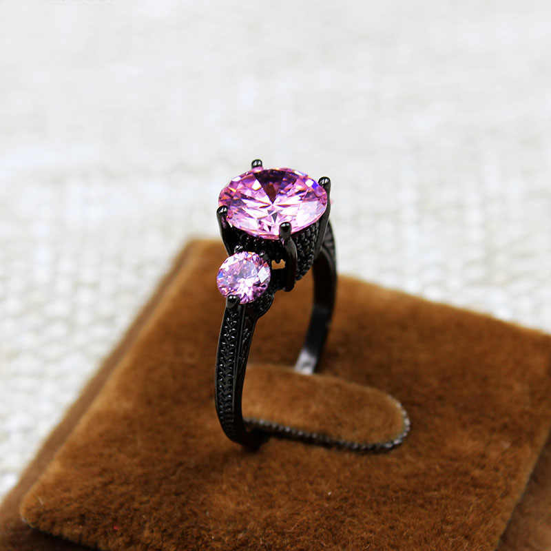 שחור יוקרה חתונה לנשים ורוד 3.65 קראט זהב מלא תכשיטי אבני AAA CZ טבעות אירוסין אנל Aneis LR0038