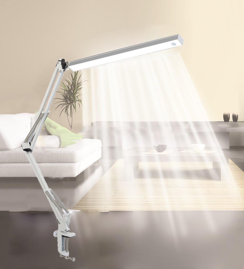 LED Architect Desk Lamp Adjustable Clamp Lamp Metal Swing Arm Task Lamp with 3 Level Brightness ,White
