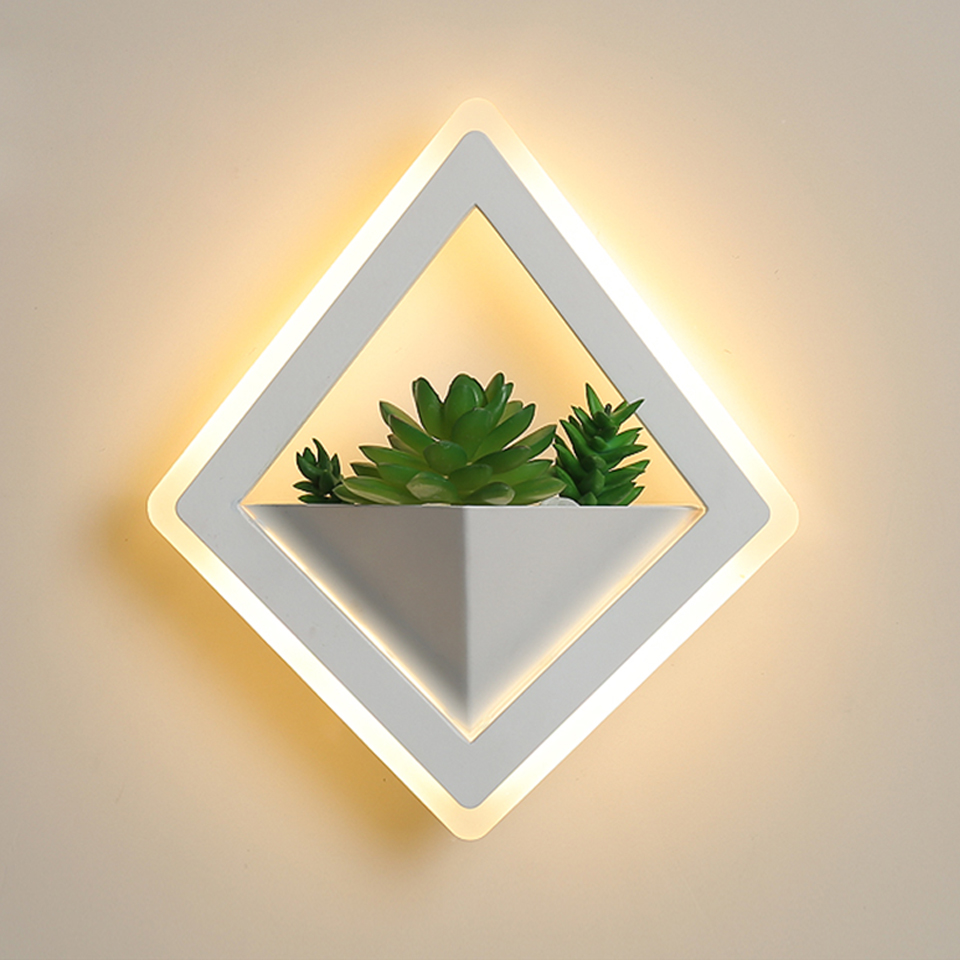 LED Wall Lamp diamond Acrylic 10W Simulated green plants led wall lights indoor Sconce AC85~260V bedroom Hallway Porch Balcony