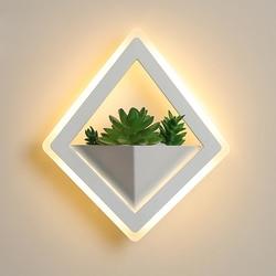 Lampa ścienna LED diament akrylowe 10 W symulowane rośliny zielone oświetlenie ścienne led kryty kinkiet AC85 ~ 260 V sypialnia korytarz ganek balkon w Wewnętrzne kinkiety LED od Lampy i oświetlenie na