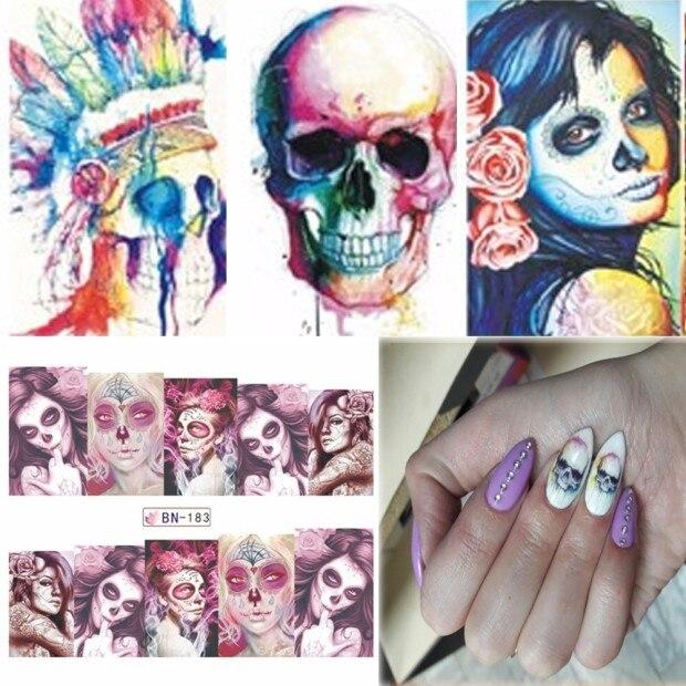2 PCS Halloween Nail Art Water Decals Skull Bone Manicure ...