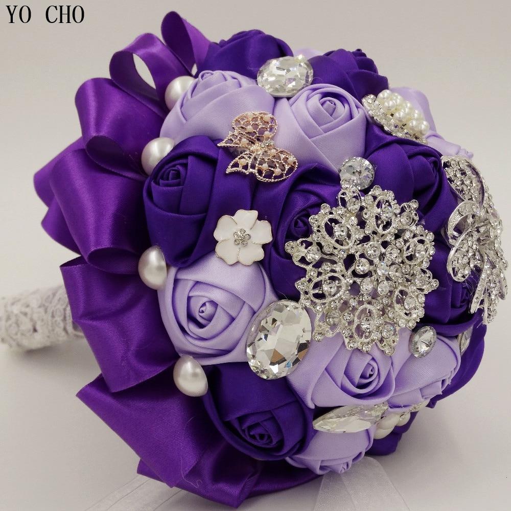 Bouquet de mariée fait à la main fleurs diamant bijoux strass perle cristal artificiel personnaliser bouquets de mariage violet