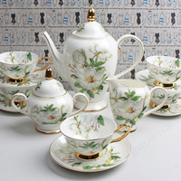 Костяного фарфора Кофе чашка установить люкс Чайные и кофейные сервизы в западном стиле день Аксессуары для чая Кофе горшок Расширенный св