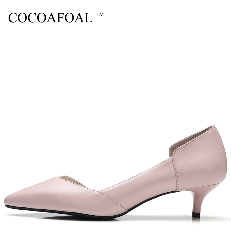 COCOAFOAL Woman Pink Wedding Pumps Beige Fashion Sexy High Heels Shoes Party Snakeskin Two-Piece Genuine Leather Pump 2018 cocoafoal woman pointed toe pumps pink black brown fashion sexy high heels shoes snakeskin genuine leather career pumps 2017