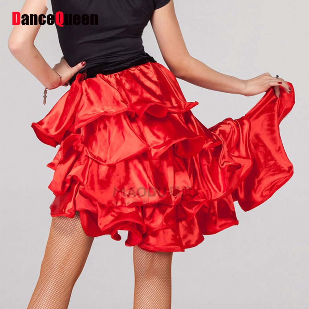2018 New Latin Dance Dress Red/Black Ballroom/Latin Dance Skirt Dress For Dancing Tango/Rumba/Samba Dancewear Skirts DQ3085