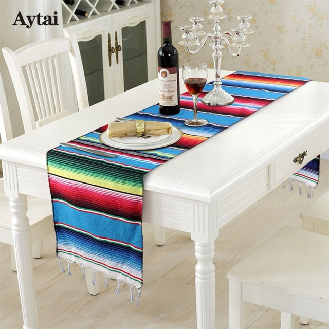 Exceptionnel Aytai Mexican Serape Table Runner Fiesta Themed Party Decoration Mexican  Cotton Tablecloth Blue Blanket Table Runner