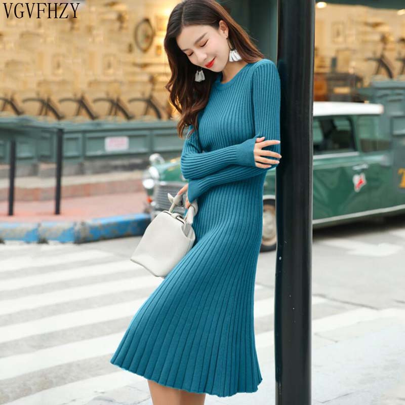 fef5e4dd88e Detail Feedback Questions about 2018 Long sleeve OL long O neck Sweater  dress women Autumn Winter Thick A line dress Slim Female Jumper female  knitted dress ...