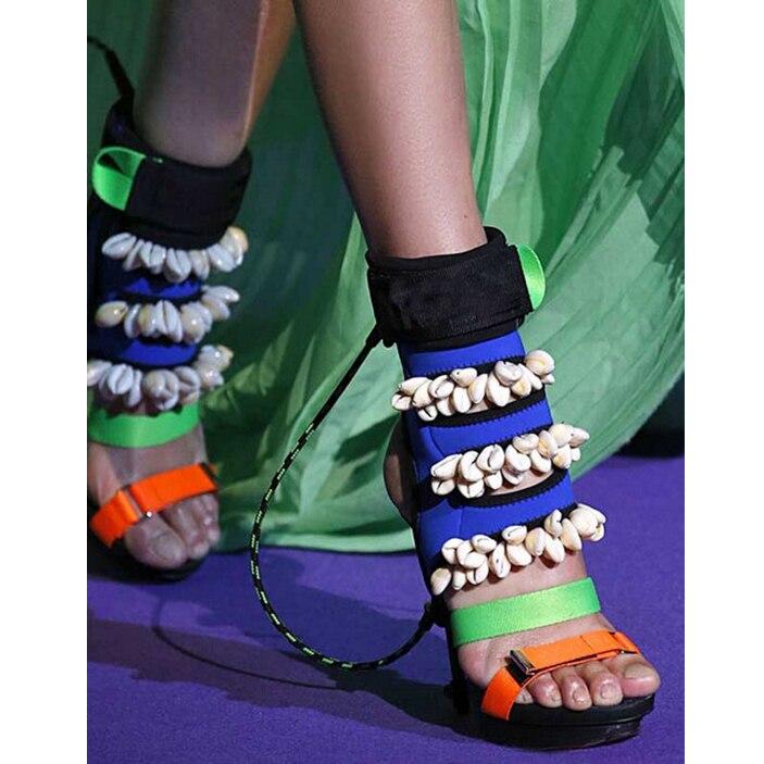 Mixed Colors Sexy Stiletto Pumps Runway Shoes Shell Design Peep Toe Slingback Gladiator Sandals Women High Heel Platform Boots leisure women s peep toe shoes with slingback and chunky heel design