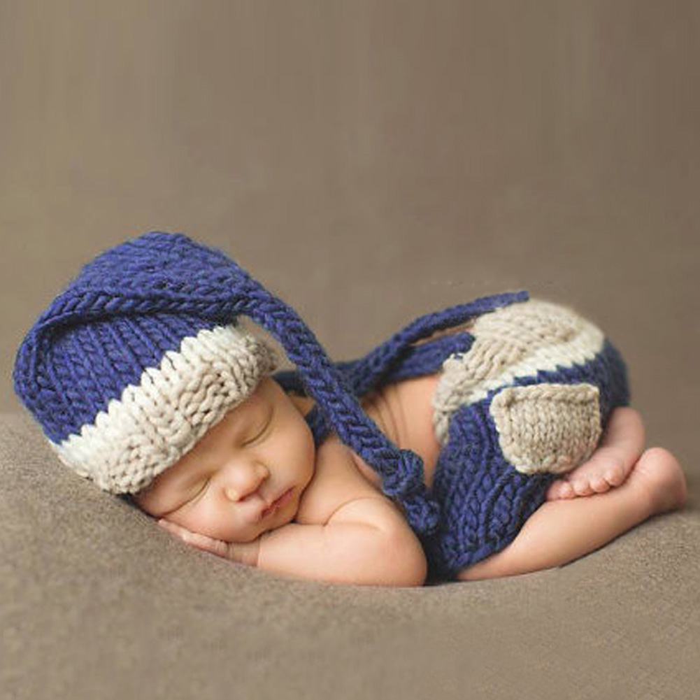 Newborn Photography Prop Blue Hat +Trousers Set Handmade Infant Baby Costume Knitted Beanies Hat Newborn Photography Accessories