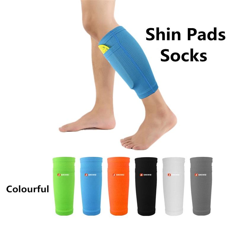 1 para Fußball Schutzhülle Socken Mit Tasche Für Fußball Shin Pads Bein Ärmeln Unterstützung Shin Schutz Erwachsene Unterstützung Socke