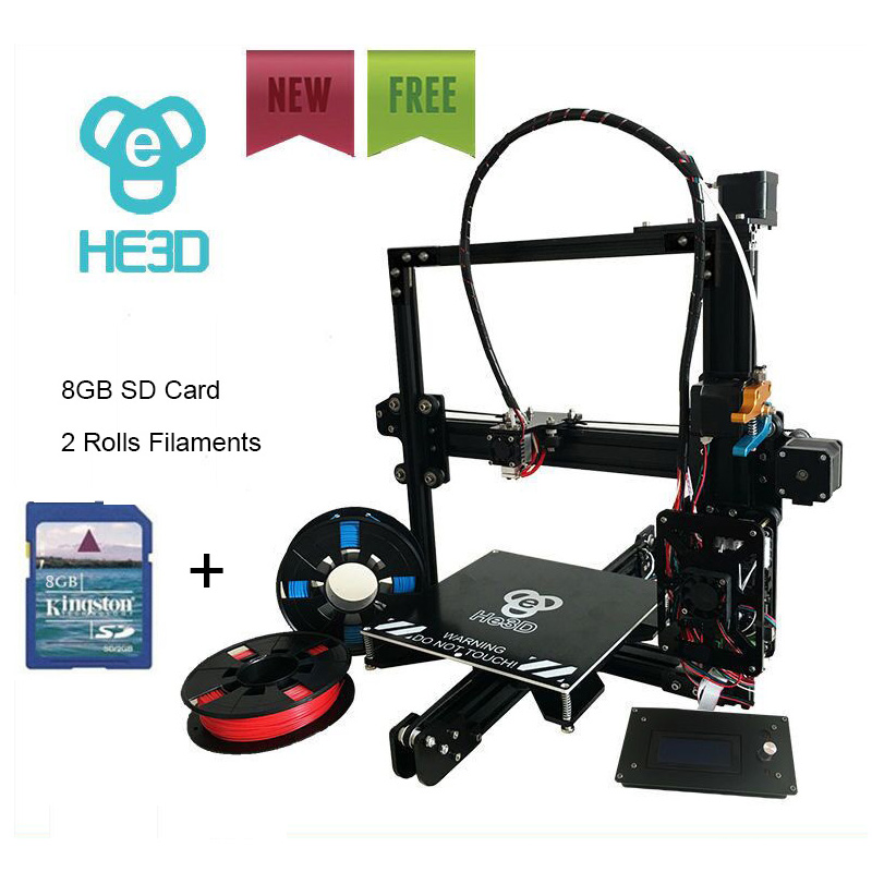 HE3D EI3 full metal extruder reprap diy 3D printer with auto level , fast heating bed to 110 degree, two rolls filament for gift