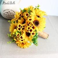 modabelle Artificial Sunflower Yellow Wedding Bouquets For Brides Bouquet De Fleur Mariage Wedding Flowers Handmade Flores Novia