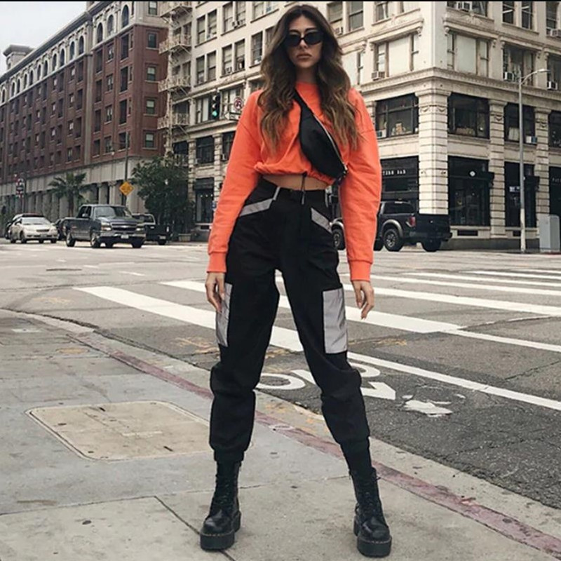 High Waist   Pants   Camouflage Loose Joggers Army Harem Camo   Pants   Women Streetwear Punk Black Cargo   Pants     Capris   Trousers L206