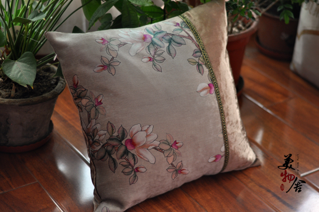 Cotton Luxury Flower Embroidery Customized Pillow Case Wedding Room Sofa Chair Bedding Hotel Decorative Cushion Cover Pillowslip
