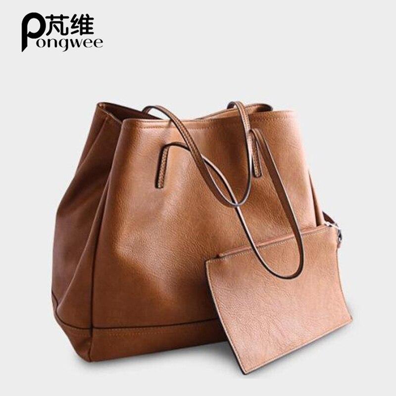 PONGWEE 2018 nouveaux ensembles sac à main mode sac à bandoulière pour femmes haute qualité Composite sac grande capacité Totes petit sac à main