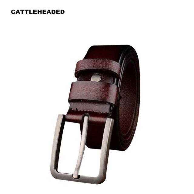 [CATTLEHEADED] 2017 nuevo de lujo de alta calidad de los hombres pantalones vaqueros de la correa de cuero pin hebilla de cinturón de moda retro correa de cuero puro 120 cm