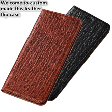 CJ14 Ostrich pattern genuine leather phone bag with card slot for OnePlus 7 Pro case for OnePlus 7 Pro(6.67′) flip case