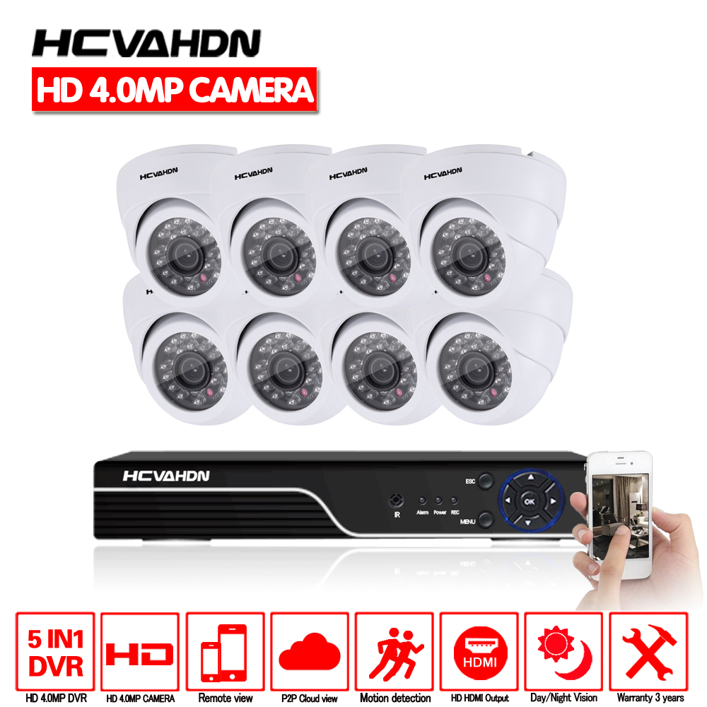 HCVAHDN 8ch Home Security Camera System 8pcs 4.0mp IR Night Vision Dome indoor Camera 4mp CCTV AHD DVR Vedio Surveillance Kit цена