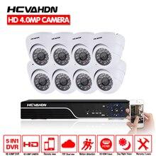 HCVAHDN 8ch Home Security Camera System 8pcs 4.0mp IR Night Vision Dome indoor Camera 4mp CCTV AHD DVR Vedio Surveillance Kit