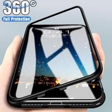 Закаленное металлическое магнитное покрытие чехол для телефона для iPhone X XR XS MAX прозрачное стекло задняя крышка магнит чехол для iPhone 8 7 6 6S Plus чехол для телефона