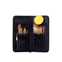 H&B 17 Pcs Wooden Nylon Art Brush Pens Brush Acrylic Oil Painting Watercolor Brush Set Art Painting Supply Kit Brand New