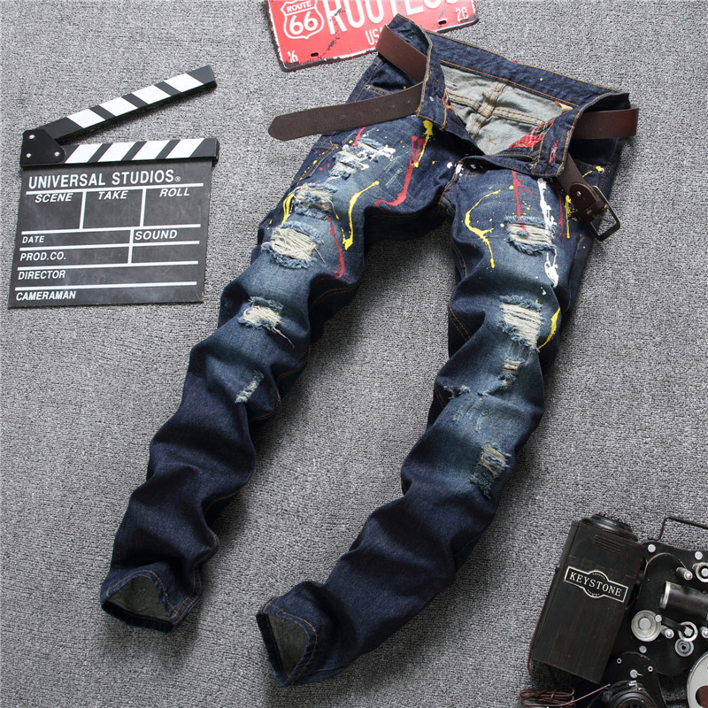 Newsosoo INK Hip Hop Patch Men Retro Men Jeans Knee Hole Zipped Biker Jeans Mens Loose Slim Destroyed Torn Ripped Denim Pants fashion mens male pants brand zipper jeans men hip hop pants slim hole patch casual jeans fashiontrouser for men free shipping