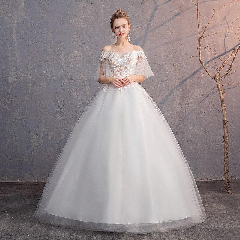 Сексуальное свадебное платье с открытыми плечами, простое платье длиной в Пол, Вышитое Кружевное белое золотое свадебное платье es