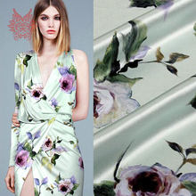 69cb391b6dcb40 Groen met paars bloemenprint spandex zijde stof voor jurk stretch zijde  tissue doek voor naaien 19mm