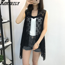 KEKURULY girls summer season shirt kimono cardigan korean style lace sleeveless seaside shirt shirt prime White pink black put on