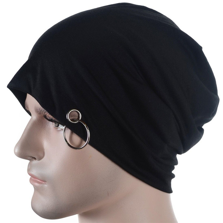 01c0433c64d Jersey slouchy Beanie metal Ring Skull cap Slouch Baggy Cap Unisex-in  Women s Hair Accessories from Apparel Accessories on Aliexpress.com