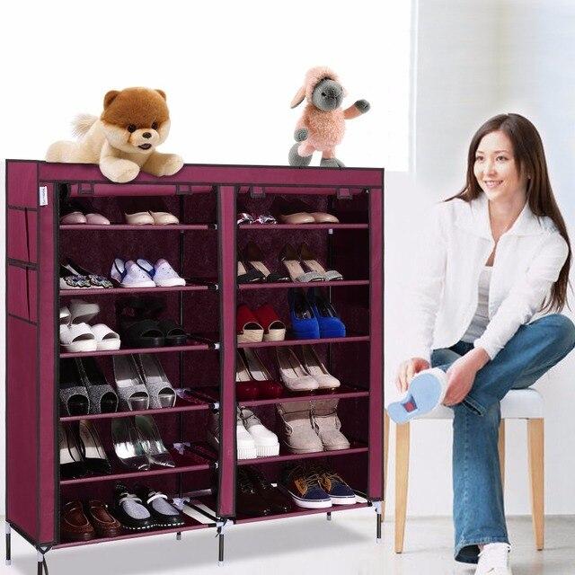 6 Layer 12 Grid Portable Home Shoe Rack Shelf Shoe Storage Closet Organizer Cabinet