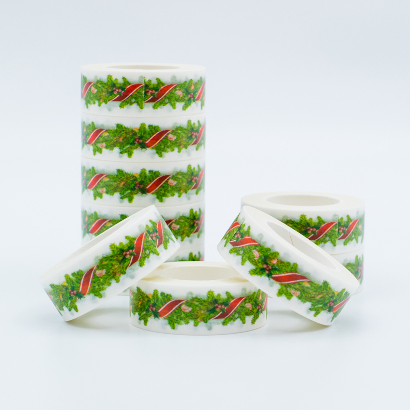Japanese Washi  Tapes Christmas Green Decorative Adhesive Masking Paper Tape Set 1PCS/Lot