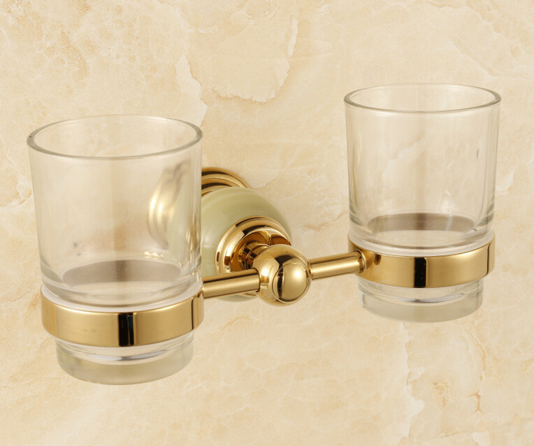 Free Shipping stone + Brass+Glass Bathroom Accessories Gold double cup Tumbler Holders,Toothbrush Cup Holders CY015S free shipping brass gold double tumbler holder cup