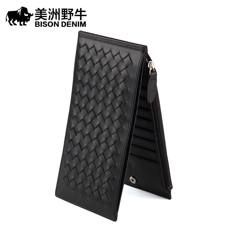 2017 New BISON DENIM High Quality Men Wallet Genuine Leather Top Cowhide Business Card Holder Wallet