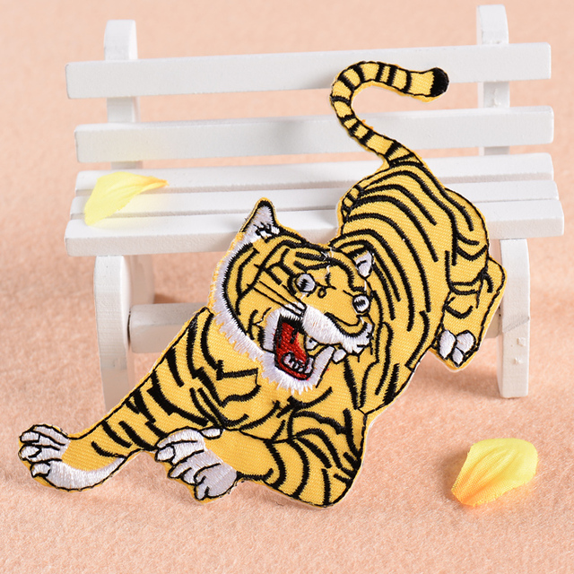 Tiger Pattern Patches Sew On Embroidered Fabric Patches For Clothing