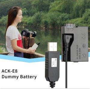 Image 5 - 5V USB ACK E8 DR E8 LP E8 Power Adapter Drive Cable dummy battery DC Coupler for Canon EOS 550D 600D 650D 700D T2i T3i T4i X4 X5